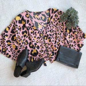 Topshop Pink Leopard Print Kimono Sleeve Top